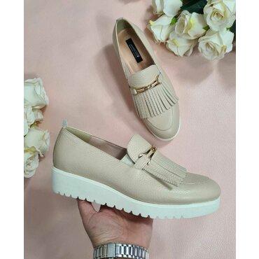 Pantofi bej din piele naturala Klara