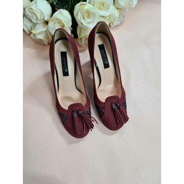Pantofi bordo din piele intoarsa cu glitter si ciucuri B6