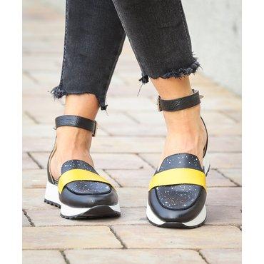 Pantofi casual negrii din piele naturala Eda