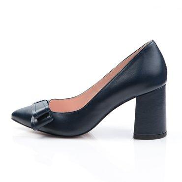 Pantofi de dama piele bleumarin Good cu funda GF1