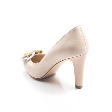 Pantofi de dama piele roz prafuit Sandra cu aplicatii florale