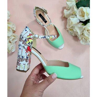 Pantofi decupati din piele naturala verde cu imprimeu Ira