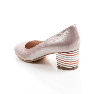 Pantofi eleganti roz sidefat din piele naturala Elisabeta