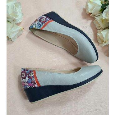 Pantofi gri din piele naturala l2589