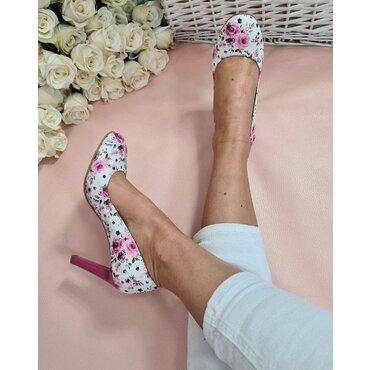Pantofi imprimeu floral din piele naturala Joli