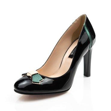 Pantofi negrii din piele lacuita cu detalii verzi Voiage