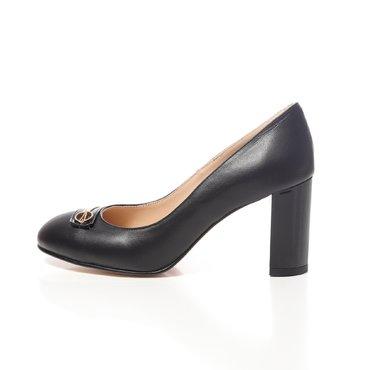 Pantofi negrii din piele naturala Joli Confy cu bareta Spring