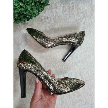 Pantofi negru cu auriu din piele naturala Vanesa