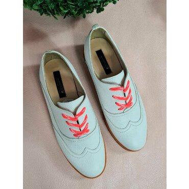 Pantofi oxford albi din piele naturala YL116