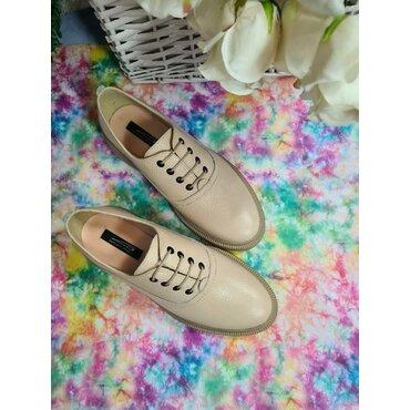 Pantofi oxford din piele naturala bej Lina
