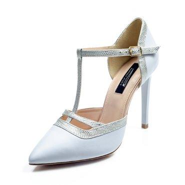 Pantofi piele bleu cu presaj argintiu Alicante