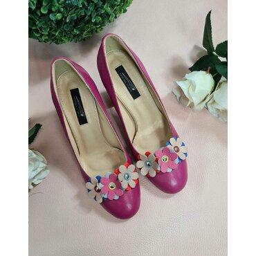Pantofi piele fucsia Elisa cu floricele L160