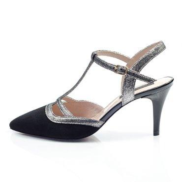 Pantofi piele intoarsa neagra cu imprimeu Elvira