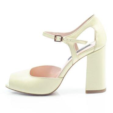 Pantofi piele limoncello Iris cu toc evazat