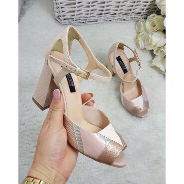 Pantofi piele presaj roz cu nude Instagram