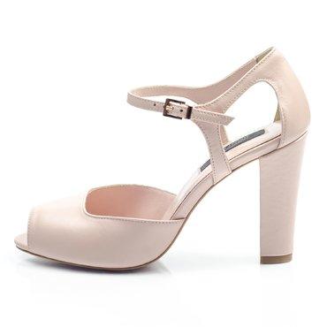 Pantofi piele roz pudra Iris simplu