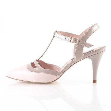 Pantofi piele roz pudra si nude Elvira