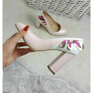 Pantofi roz din piele naturala Kolibri