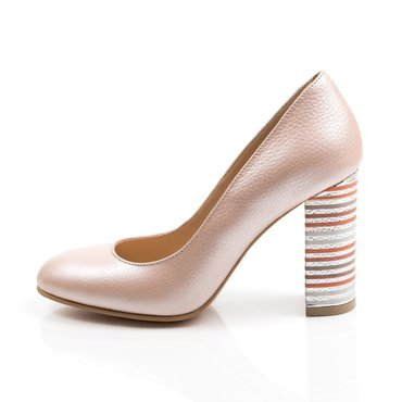 Pantofi roz sidef din piele naturala Joli
