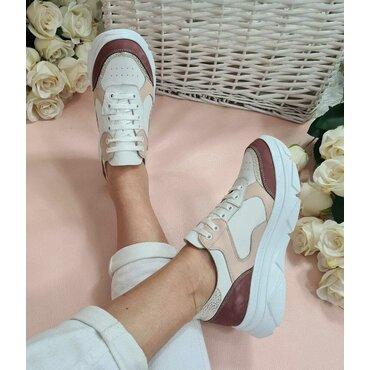 Pantofi sport albi cu bordo Noris
