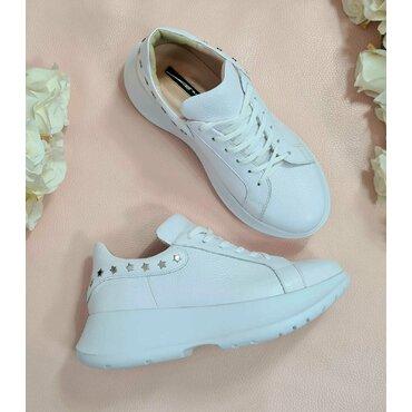 Pantofi sport albi din piele naturala Simon