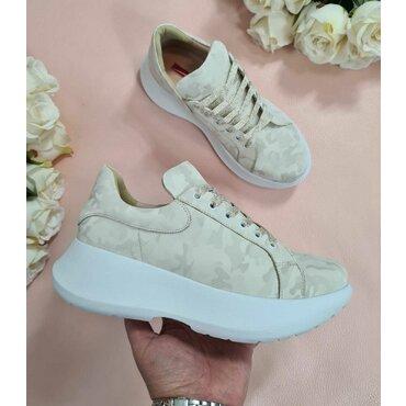 Pantofi sport bej din piele naturala  Alana
