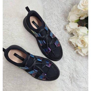 Pantofi sport din piele naturala neagra Sally