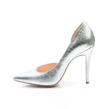 Pantofi stiletto piele argintie Eva