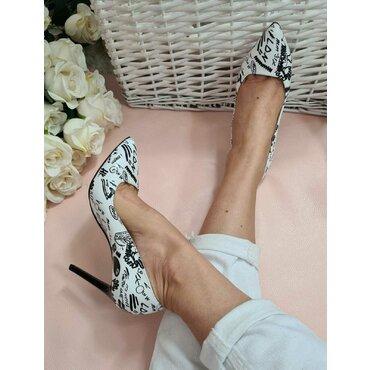 Pantofi stiletto print alb cu negru Trend