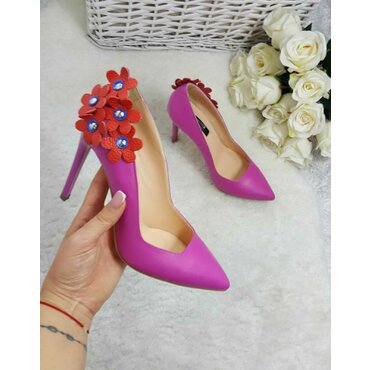 Pantofi stiletto trend piele naturala  fucsia Maya
