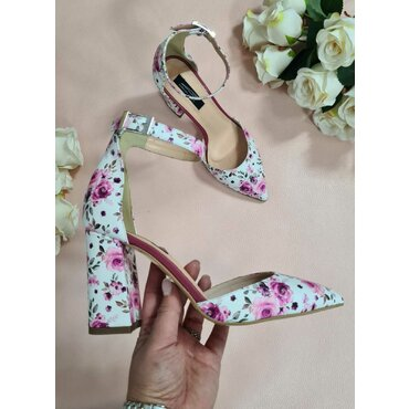 Pantofi tip sanda imprimeu flori Nona