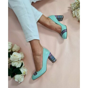 Pantofi verzi din piele naturala Spring
