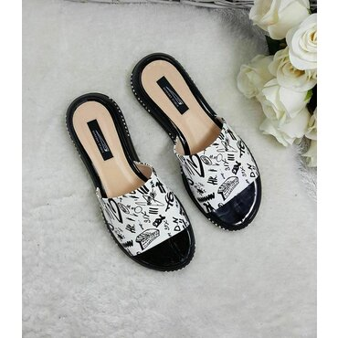 Papuci de dama alb cu negru Ema