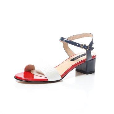 Sandale albe cu bleumarin si rosu din piele naturala Mado