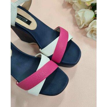 Sandale de dama alb cu fuxia L2585