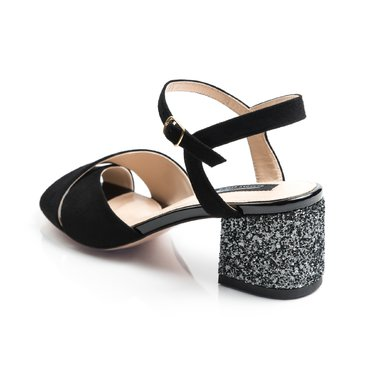 Sandale piele camoscio negru cu glitter Malvina