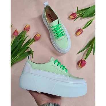 Sneakers albi cu verde Tulip