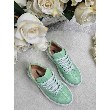 Sneakers din piele naturala presaj verde Koli