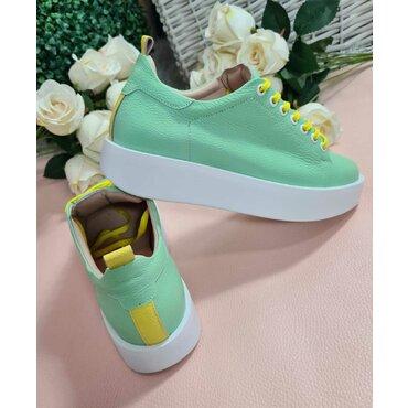 Sneakers din piele naturala verde Paco