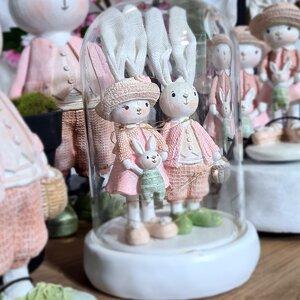 Bell Rabbit Decoratiune dom iepuri, Polirasina, Roz