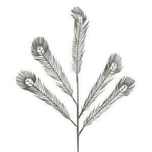 Brilliant Decoratiune frunza, Plastic, Argintiu