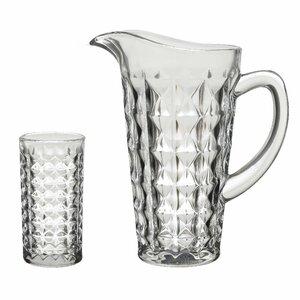 Briseis Set Carafa cu 6 pahare, Sticla, Transparent