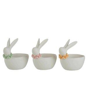 Bunny Set 3 boluri iepure, Portelan, Alb