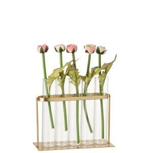 Caylin Vaza cu 5 tuburi, Sticla, Auriu