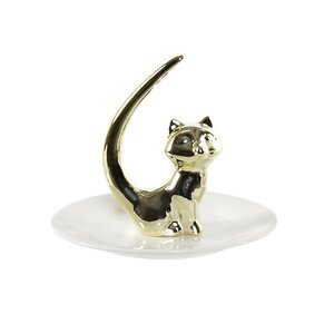 Cere Suport bijuterii pisica, Portelan, Alb