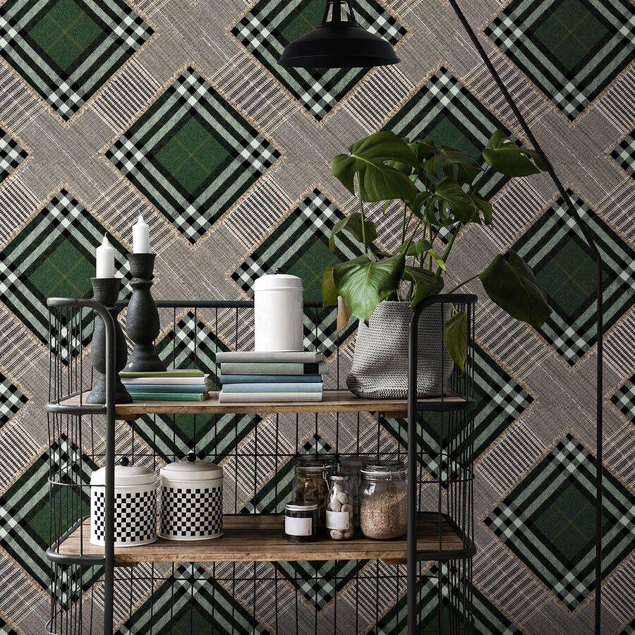 Checkered Patchwork Set Role Tapet Netesut Verde