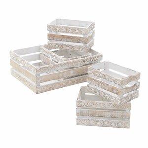 Crate Set 5 ladite, Lemn, Alb
