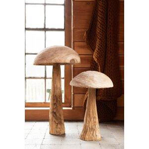 Danda Decoratiune ciuperca mare, Lemn, Bej