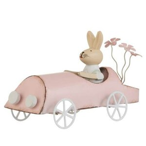 Danni Decoratiune iepure in masina, Metal, Roz