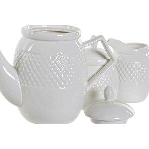 Dasan Set ceainic 4 piese, Portelan, Alb